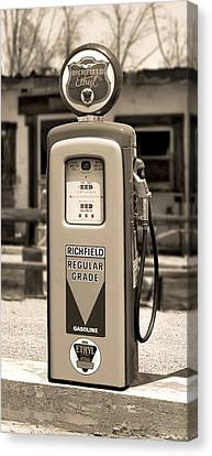 Richfield Ethyl - Gas Pump - Sepia Canvas Print by Mike McGlothlen