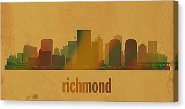 Richmond Virginia City Skyline Watercolor On Parchment Canvas Print