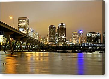 Richmond Virginia From The James River At Night Canvas Print by Brendan Reals