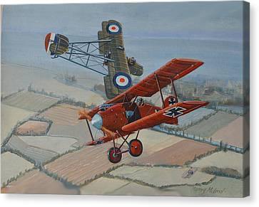 Aviationart Canvas Print - Richtofen And Hawker Combat by Murray McLeod