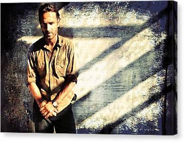 Rick Grimes The Walking Dead 2 Canvas Print by Janice MacLellan