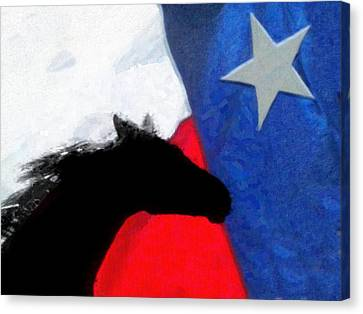Ricky-bobby And The Texas Flag Canvas Print by Shannon Story