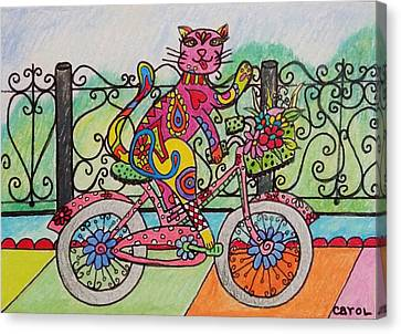 Ride Kitty Ride Canvas Print by Carol Hamby