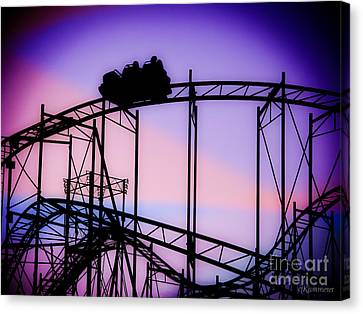Ride The Wild Cat - Roller Coaster Canvas Print by Colleen Kammerer