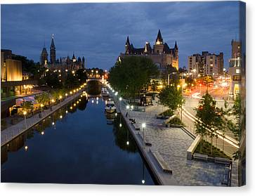 Rideau Canal And Sussex Drive At Night Canvas Print by Rob Huntley