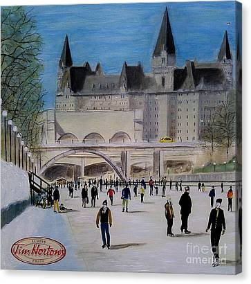 Rideau Canal Winterlude Canvas Print by John Lyes