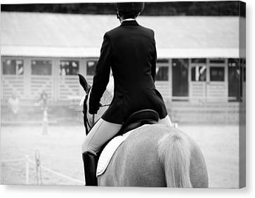 Canvas Print featuring the photograph Rider In Black And White by Jennifer Ancker
