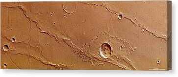 Ridges And Craters Canvas Print by European Space Agency/dlr/fu Berlin (g. Neukum)