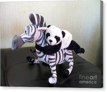 Canvas Print featuring the photograph Riding A Zebra.traveling Pandas Series by Ausra Huntington nee Paulauskaite