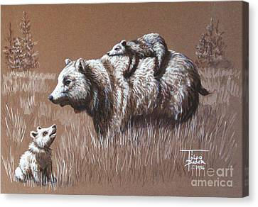 Riding Bear Back Canvas Print by Art By - Ti   Tolpo Bader