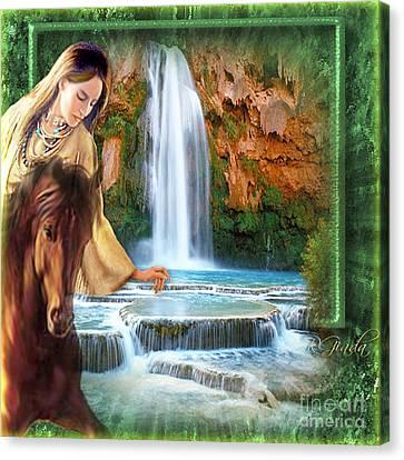 Canvas Print featuring the digital art Riding By Havasu Falls  - Digital Art By Giada Rossi by Giada Rossi
