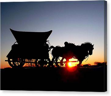 Riding Into The Sunset Canvas Print by Larry Trupp