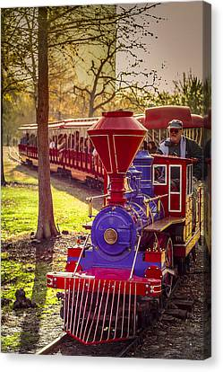 Riding Out Of The Sunset On The Hermann Park Train Canvas Print