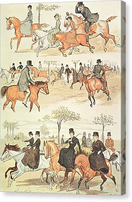 Riding Side-saddle Canvas Print by Randolph Caldecott