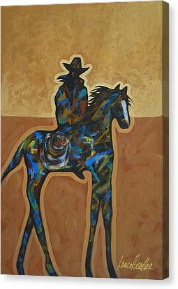 Contemporary Cowgirl Canvas Print - Riding Solo by Lance Headlee