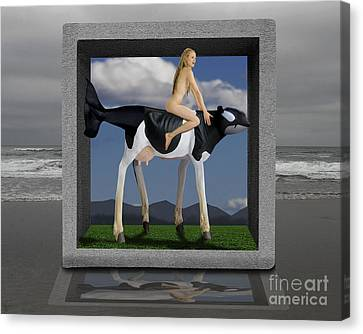 Surreal Digital Image Canvas Print - Riding The Cow Whale by Keith Dillon