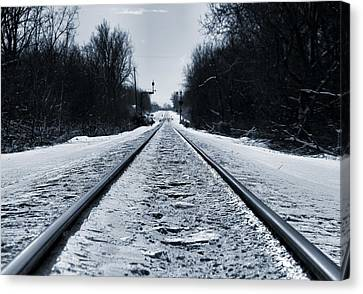 Riding The Rails In Winter Canvas Print by Dan Sproul