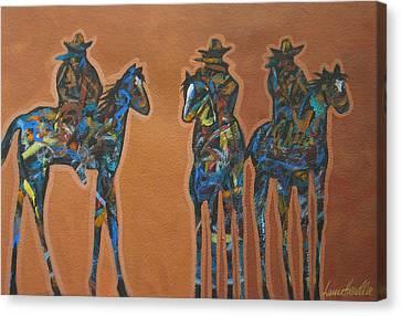Riding Three Canvas Print by Lance Headlee