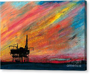 Rig At Sunset Canvas Print by R Kyllo