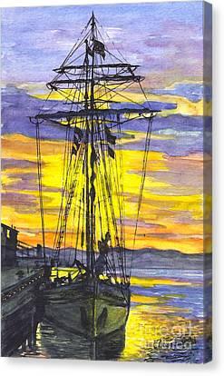 Rigging In The Sunset Canvas Print by Carol Wisniewski