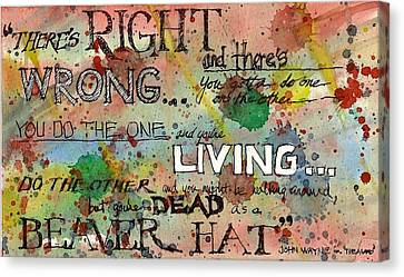 Canvas Print featuring the mixed media Right And Wrong by Tim Oliver