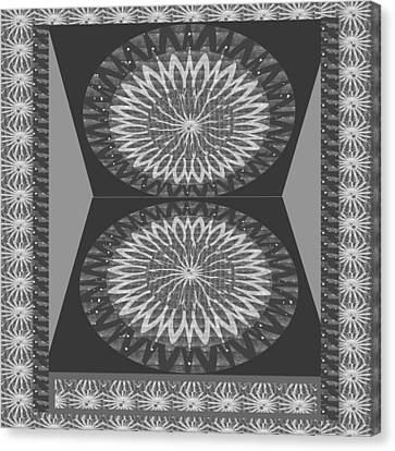 Rights Managed Images For Download Bnw Black N White Chakra Mandala Decorations For Yoga Meditation  Canvas Print by Navin Joshi