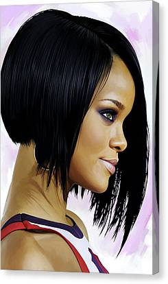 Rihanna Canvas Print - Rihanna Artwork by Sheraz A