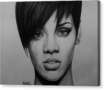 Rihanna Canvas Print by Carlos Velasquez Art