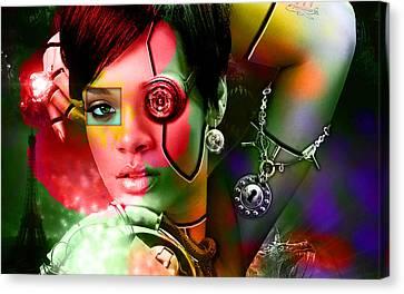 Rihanna Over Rihanna Canvas Print by Marvin Blaine