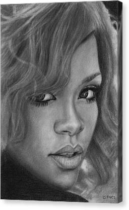 Rihanna Pencil Drawing Canvas Print