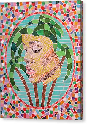 Rihanna Portrait Painting In Mosaic  Canvas Print by Jeepee Aero