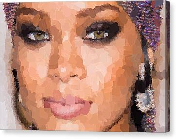Rihanna Portrait Canvas Print by Samuel Majcen