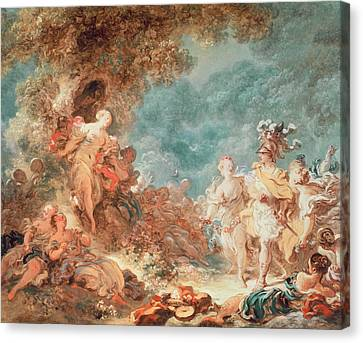 Rinaldo In The Garden Of The Palace Of Armida Canvas Print by Jean-Honore Fragonard