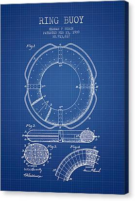 Lifebelt Canvas Print - Ring Buoy Patent From 1909 - Blueprint by Aged Pixel