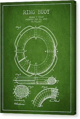 Lifebelt Canvas Print - Ring Buoy Patent From 1909 - Green by Aged Pixel