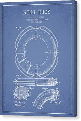 Lifebelt Canvas Print - Ring Buoy Patent From 1909 - Light Blue by Aged Pixel