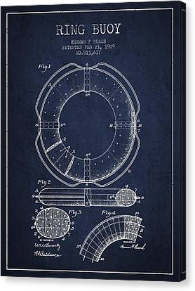 Lifebelt Canvas Print - Ring Buoy Patent From 1909 - Navy Blue by Aged Pixel