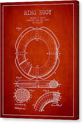 Lifebelt Canvas Print - Ring Buoy Patent From 1909 - Red by Aged Pixel