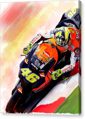 Ring Of Fire  Valentino Rossi Canvas Print by Iconic Images Art Gallery David Pucciarelli