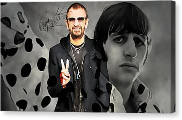 Drummer Canvas Print - Ringo Star by Marvin Blaine