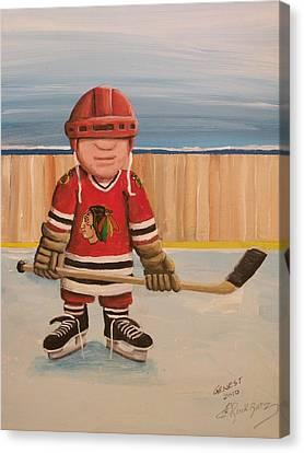 Pond Hockey Canvas Print - Rinkrattz- Chicago  by Ron  Genest