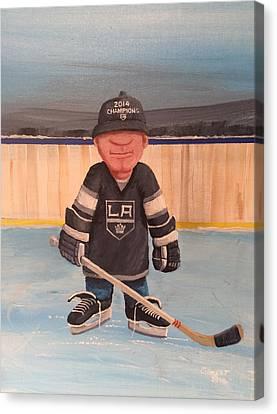 Youth Hockey Canvas Print - Rinkrattz - La Kings by Ron  Genest