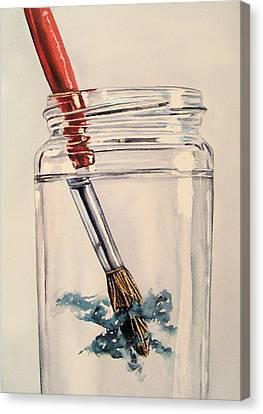 Water Jars Canvas Print - Rinsing Brush Watercolour Art by Lillian  Bell
