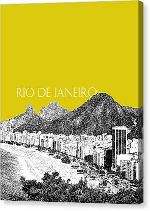 Rio De Janeiro Skyline Copacabana Beach - Mustard  Canvas Print by DB Artist
