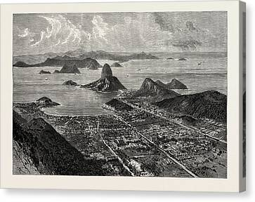 Rio De Janeiro, View From The Summit Of Corcovado, Showing Canvas Print by English School