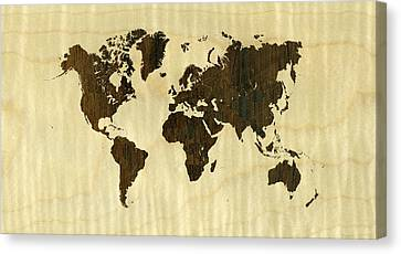 Rio Rosewood And Curly Maple World Map Canvas Print