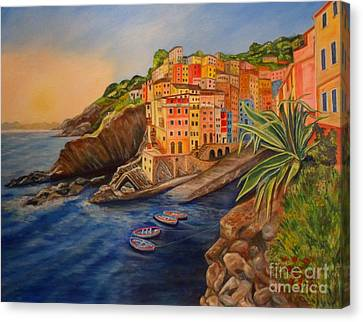 Riomaggiore Amore Canvas Print by Julie Brugh Riffey