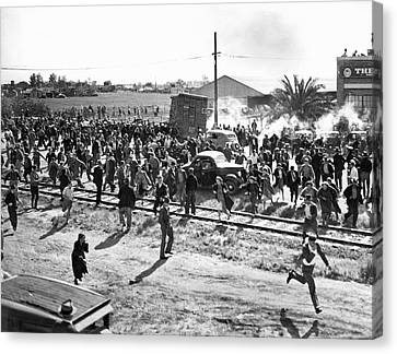 Riots At Cannery Strike Canvas Print by Underwood Archives