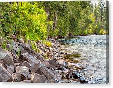 Rip Rap On The Methow River Canvas Print by Omaste Witkowski
