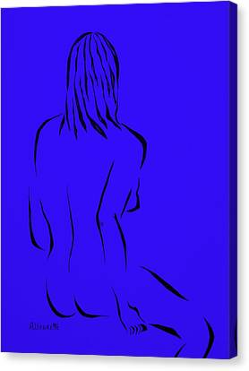 Ripose 4 In Blue    Canvas Print by Pamela Allegretto